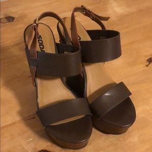 Brown Soda Platform Wedges
